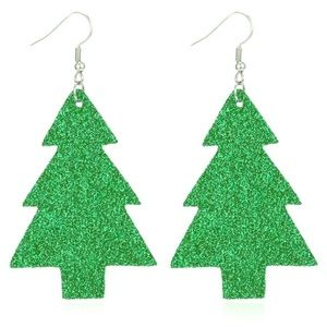 Glitter Christmas Tree Earrings